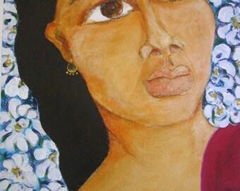 "Original Mexican Folk Art acrylic framed painting of ""Dona Flor""."