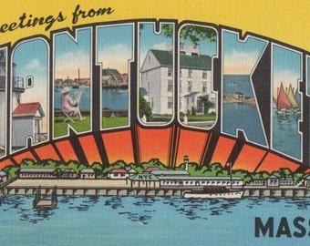 Greetings from Nantucket Mass. Linen postcard. American Art Postcard Co., Brookline, Mass.