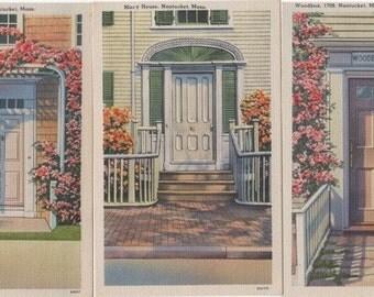 3 Nantucket Doors, Linen Post Cards.
