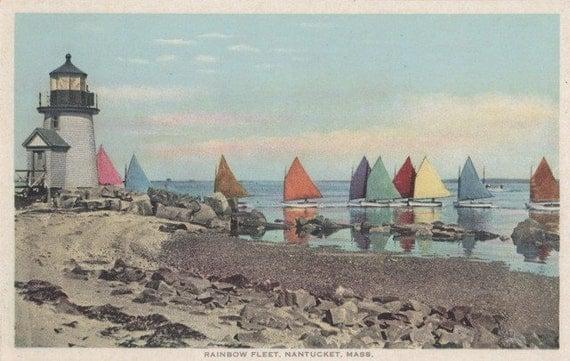 Rainbow Fleet, Nantucket postcard. Gardiner PHOSTINT