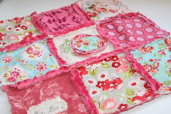 Rag Quilt Lovey Baby Girl  - Shabby Rose, Shabby Chic, Baby Girl Gift Set Burp Cloths
