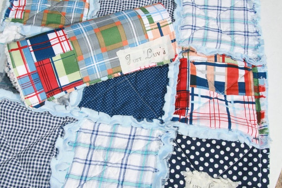 Baby Boy Gift Set Rag Quilt Lovey Plaid Madras Burp Cloth