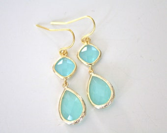 Gold Earrings, Aqua Earrings Mint Wedding Bridesmaids Earrings Bridesmaid Jewelry Mint Earrings Bridesmaid Gifts Best Friend Gift Girlfriend