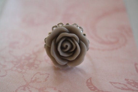 Ruffled Rose Ring Smoke Gray Grey, Vintage Inspired, Shabby Chic, Gifts for Her, Gifts for Wives, Gifts for Grandmothers