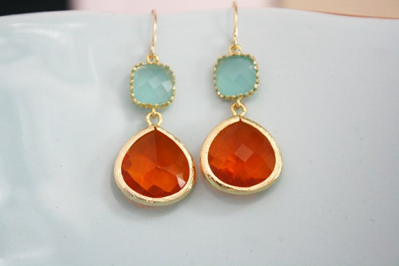 Gold Earrings, Tangerine Orange Aqua Glass Earrings, Bridesmaids Jewelry, Bridesmaid gifts, birthday gift, Best Friend Gifts Girlfriend