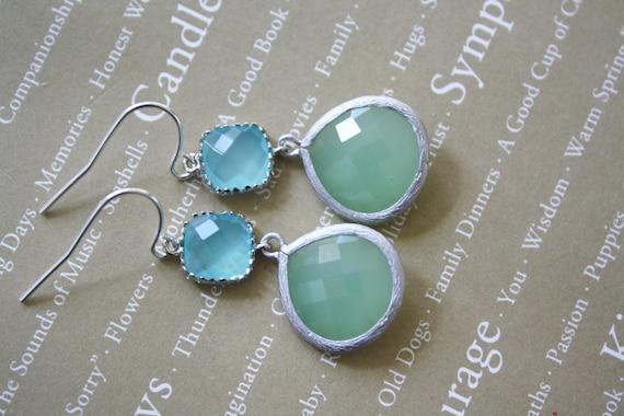 Aqua Earrings, Mint Earrings, Silver Earrings, Bridesmaids Earrings, Bridesmaid Jewelry, Bridesmaid Gifts, Best Friend Gifts Girlfriend Gift