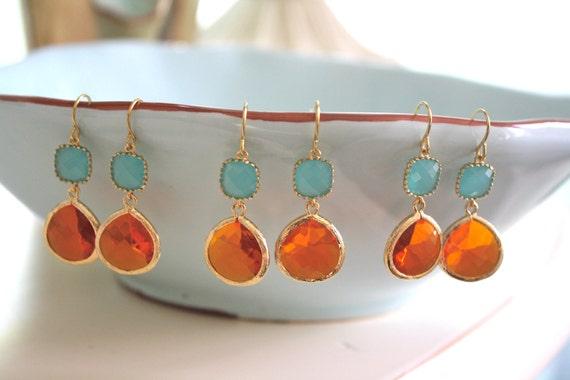 Jewelry Set Bridesmaid Gift Jewelry Necklace Bridesmaid Necklace Jewelry Bridesmaid Gift Jewelry Necklace Mint Earrings Gift Gold Earrings