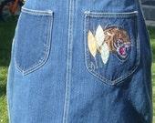 m / TIGER DENIM SKIRT vintage 1980s high waist