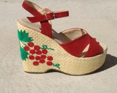 70s CHERRY BOMB PLATFORMS amazing vintage 1970s platform sandals platform shoes 7