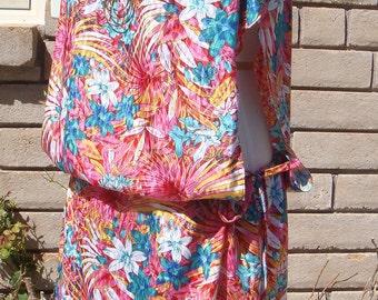 80s TROPICAL SILK SUNDRESS vintage side cutouts dress mini S