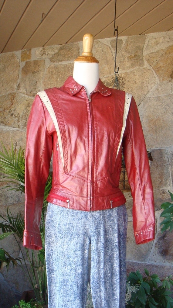 PUNK LEATHER JACKET vintage 1980s red studded sz S