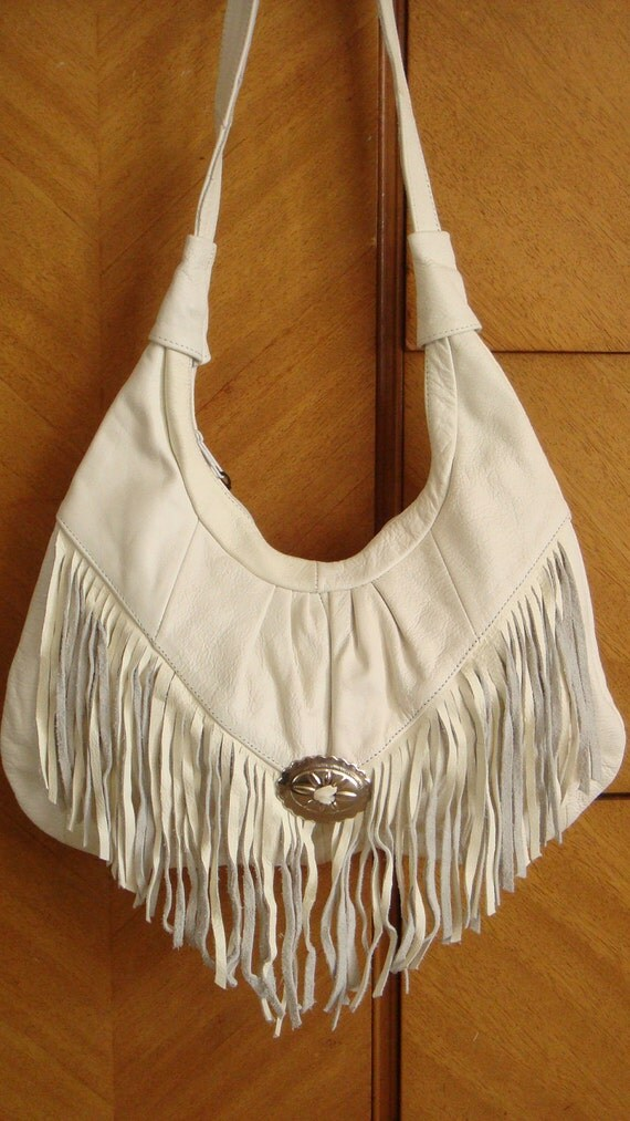 FRINGED LEATHER HOBO bag purse vintage 1980s, free shipping