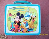 Walt Disney World Vintage Lunchbox w/ Graphic Thermos / 1970s /Aladdin Industries / Mickey Mouse/Walt Disney Productions