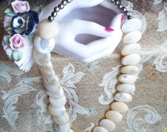Vintage Genuine Mother of Pearl Necklace/ Chunky and Gorgeous