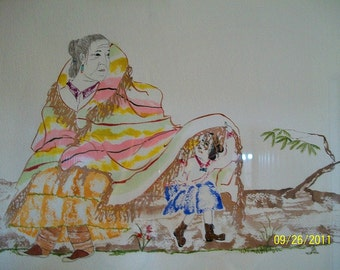 Old Navajo Woman with Child Playing Underskirt Original Framed Watercolor Signed by Artist/ Indian Collectible