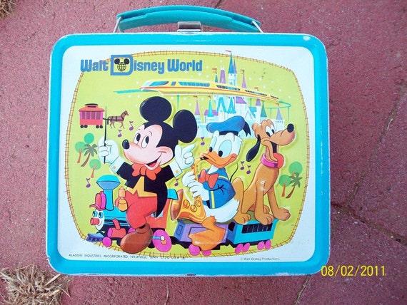 Walt Disney World Vintage Lunchbox w/ Graphic Thermos / 1970s /Aladdin Industries / Mickey Mouse/Walt Disney Productions