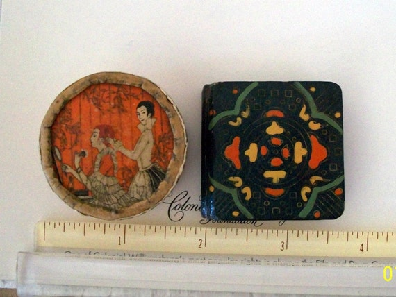 Hudnut Three Flowers Powder & Colorful Art Deco Rouge Compact / Vintage Teensy Tiny / SMALL Collectible