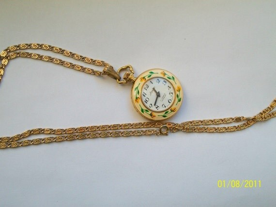 Arnex 17 Jewel Incabloc Swiss Made Enameled front and Back/ Horses/ Flowers Pendant Watch