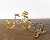 vintage key chain bike with gold tone wire BICYCLE