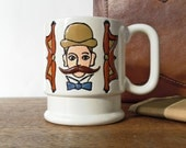 HOLD for Nicole Dean////////////////////////// vintage authentic 70s mustache creamy white mug VROOM VROOM