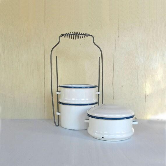 vintage enamel stacking bowls for picnic and dinner blue and white STACK ER UP