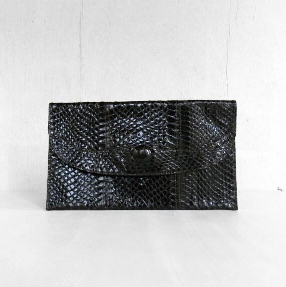 vintage snakeskin brown clutch purse SLITHERING