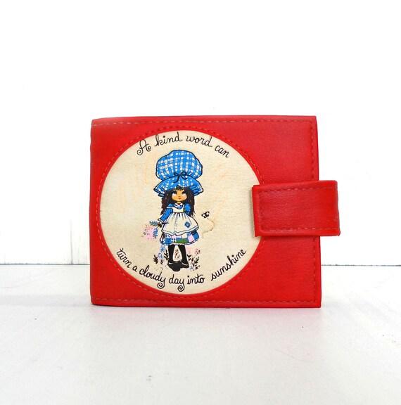 vintage holly hobby red vinyl wallet KIND WORDS