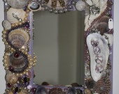 Beach Ocean Sea Shell Jewelry Purple Mosaic Mirror