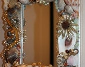 Beach Ocean Sea Shell Vintage Jewelry Multi Color Mosaic Mirror FREE SHIPPING