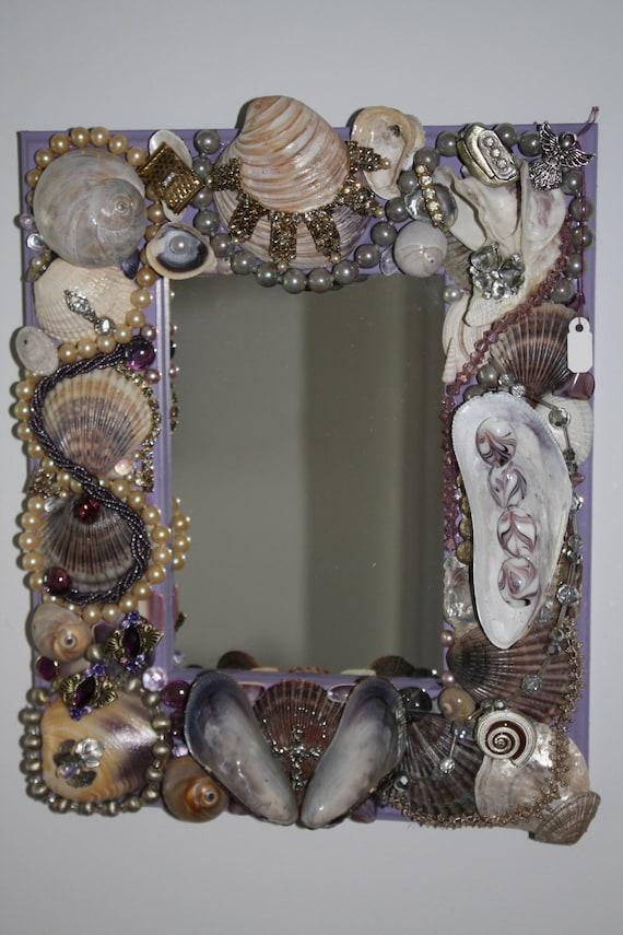 Beach Ocean Sea Shell Jewelry Purple Mosaic Mirror