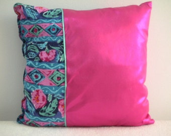Clearance Pillow - Discounted Price  - Decorative Accent Throw Pillow - Retro Flower Hot Pink II Accent Pillow