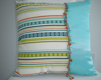 Pillow Sale - Beaded - 15 x 15 Inch Reversible Pillow - Fiesta Bead Trim South of the Border I Accent Pillow - Multi Colored Aqua and Green