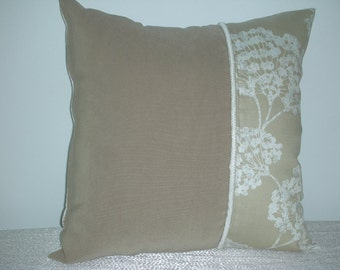 Reduced Beige Pillow - Dandelion Pillow - Decorative Accent Throw Pillow - 15 x 15 Inch Reversible - Beige and White Dandelion Accent Pillow