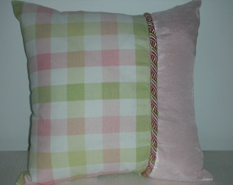 Reduced Price - Pink Pillow - Reversible Pillow - Green Pillow - Checked Pillow- Satin Piping Trim - Insert Included - 15 x 15 Inch Pillow