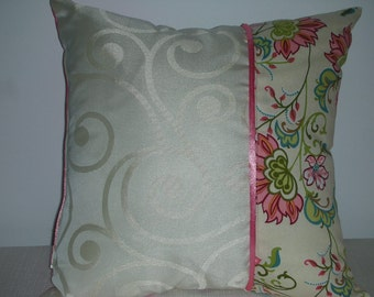 Reduced Pillow - Ivory Swirl Pillow - Pink Pillow - Paisley Pillow -Reversible Pillow - 15 x 15 Inch - Pink Flower Celebration Accent Pillow