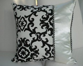 Black Pillow - Damask Decorative Pillow - Accent Throw Pillow - 15 x 15 inch Reversible - Elegant Black and Ivory Damask Design Pillow
