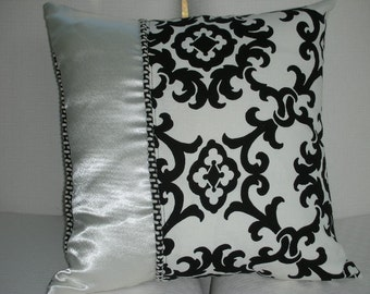 Elegant Black and Ivory Damask Design Bedroom Pillow - Decorative Accent Throw Pillow - 15 x 15 Inch Reversible
