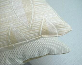 Golden Decorative Pillow - Toss Accent Throw Pillow - 15 x 15 inch Reversible - Almond Leaves Design Pillow