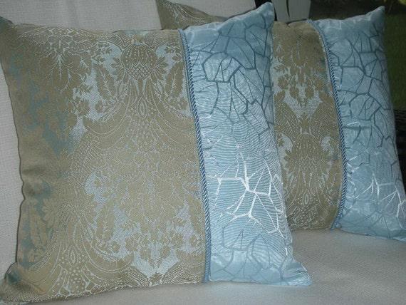 Sale Blue & Beige Decorative Pillow By PillowscapeDesigns