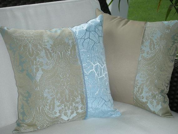 Blue Pillow Beige Pillow Decorative Accent Throw Pillow