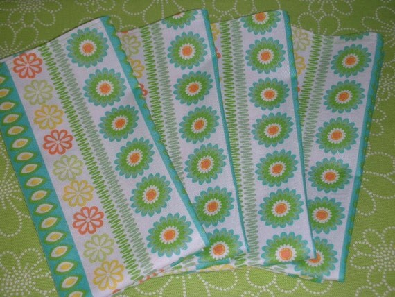 Cloth Napkins - Set of Four - Daisy Design by Pillowscape Designs - Table Top - Flowers Leaves Stripes