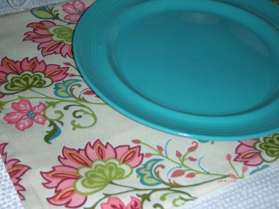 Reversible Placemats - Set of Six - Pink Flower Celebration Design by Pillowscape Designs