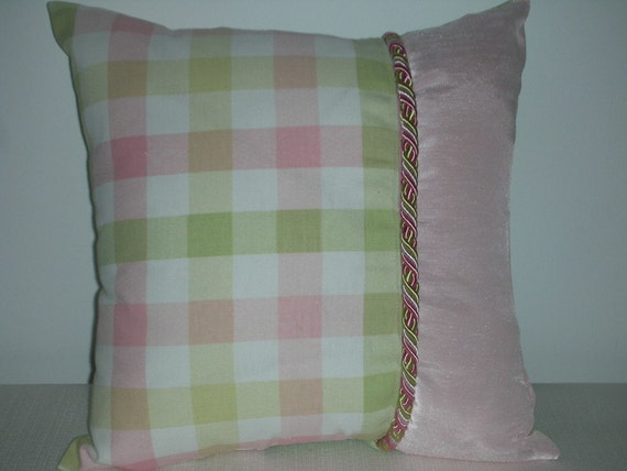 Bedroom Reversible Pillow - Decorative Accent Throw Pillow - 15 x 15 Inch - Checked Sherbet w/o the Orange Accent Pillow