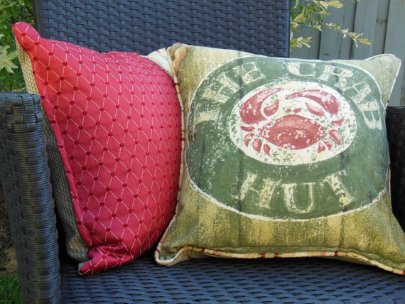 Crab Pillow - Decorative Accent Throw Pillow - 15 x 15 inch Reversible - The Crab Hut Pillow