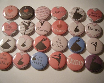 24  Ballet Dance Pink Ballerina Pinback Button Party Favors Brooches