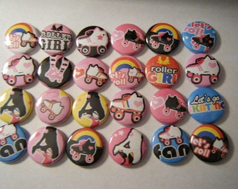 24 Roller Skate Skater Girl Pinback Button Party Favors Brooches