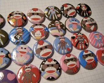 24  Sock Monkey Pinback Button Party Favors Brooch Pin Set