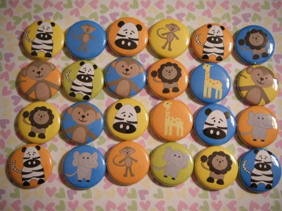 24 Zoo Animals  Pinback Button Party Favors Brooches
