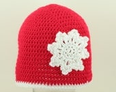 CLEARANCE SALE - The First Snowflake Hat Christmas -Adult- OOAK Ready To Ship-  Handmade & Crocheted Crochet