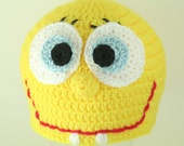 CLEARANCE SALE -  Spongebob Square Pants Hat Nickelodeon With Big Eyes Toddlers 1-3 Years - OOAK Ready To Ship - Handmade & Crocheted